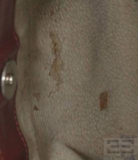 Burberry Beige Haymarket Check Coated Canvas Red Leather Trim Handbag