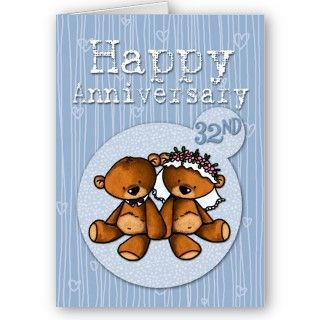 happy anniversary bears   32 year greeting cards