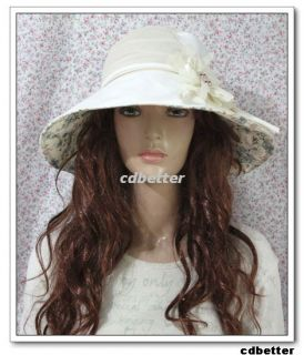 Garden Women Manual Flower Grace Fabric Wide Brim Hats Cap
