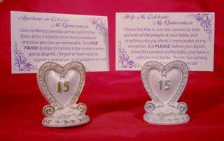 12 Quinceañera Heart Place Card Holders Favors Favor