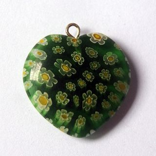 25mm Green Millefiori Glass Heart Shaped Beads Pendant Necklace