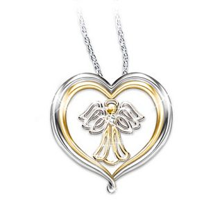 Granddaughter Heart Shaped Angel Pendant Necklace Jewelry Gift