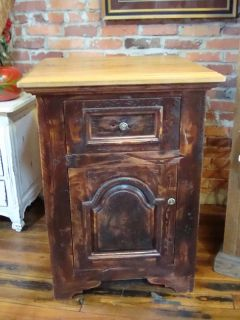 Antique Oak Top Pine Wood Kitchen Storage Cabinet
