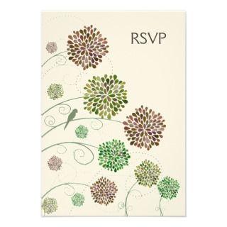 RSVP Dahlia Whimsy Garden Wedding Cards Custom Announcement