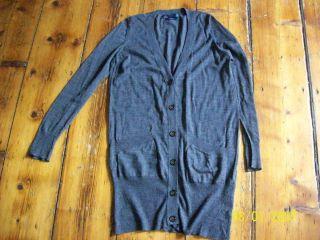ZARA 100 Merino Wool Extra Long Heather Grey Boyfriend Cardigan Medium