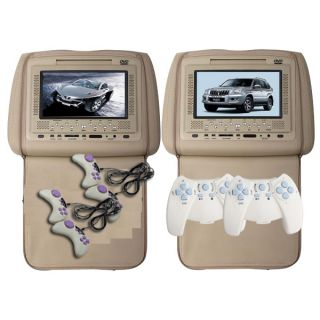 Beige 7Car Pillow Headrest Monitor DVD Player X2 Games