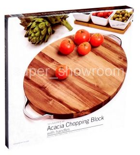 16 Round Wooden Cutting Board Chopping Block with Handles