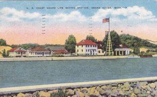 Grand Haven MI US Coast Guard Life Saving Station Old Postcard