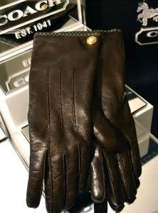 COACH BUTTON Mahogany Chocolate Brown LEATHER & CASHMERE GLOVES 80633