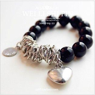 New Fashion Black Bead Heart Shaped Pendant Bracelet C010