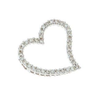 14kt White Gold 0 59ctw Diamond Floating Heart Shaped Pendant