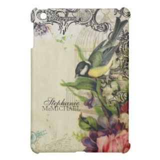 Personalized, Yellow Song Bird Cage Swirl Floral iPad Mini Cases