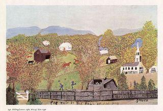 Grandma Moses Print Autumn Landscape Falling Leaves