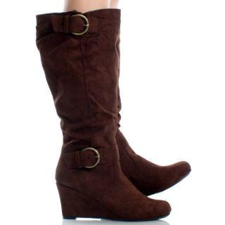 Brown Knee High Wedge Boots Wide Calf Tall Buckle Classic Womens Heels