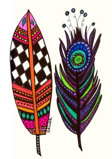 Painting Feather Art Modern Abstract Peacock Feather Gift
