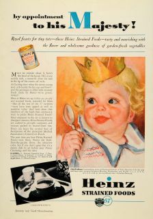 1937 Ad H J Heinz Strained Canned Foods Baby Crown Original