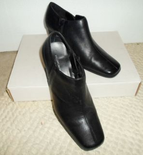 Hillard Hanson Black Leather Ankle High Heel Boots Size 7 M Spice