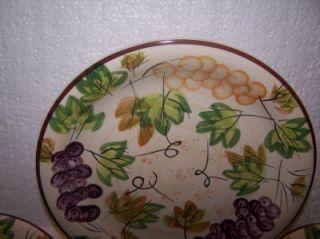Plates Set 4 Alco Industries Hand Painted Ceramic Grapevine