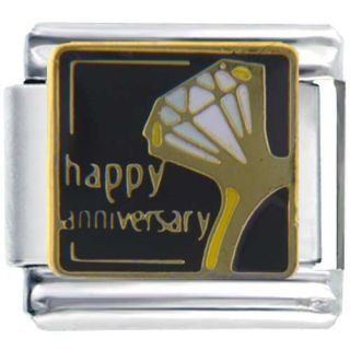 Pugster 9mm Charm Happy Anniversary Ring Heart Graduation Wedding Mood