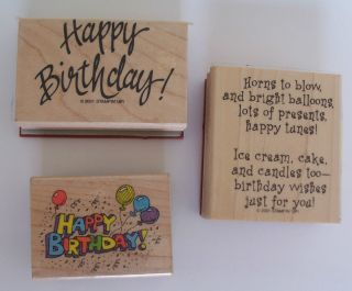 Stampin Up Hero Art Happy Birthday Wishes Balloons Phrases Set 3