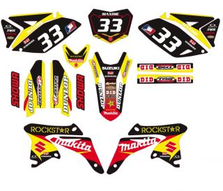 Suzuki RMZ 250 RMZ250 Graphic Kit Custom Front Plate Sticker Decal