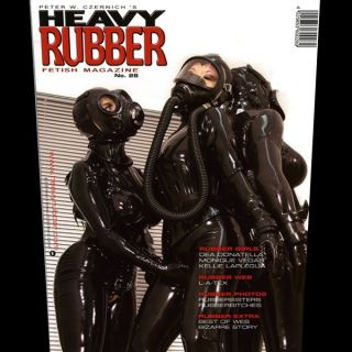 Heavy Rubber Mag 28 Black Latex Hood Catsuit Neck Corset Gas Mask