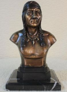 Bronze Marble Statue Indian Native Chief Eagle Bust Sculpture Figure