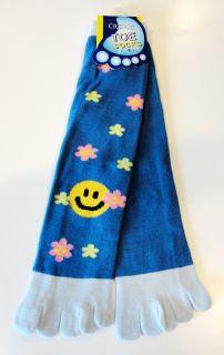 Blue Happy Smiley Face Flower Harajuku Style Toe Socks