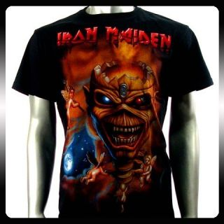 Iron Maiden Heavy Metal Men Biker Rock Punk T shirt Sz L Ir6