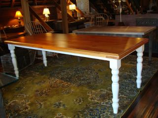 Antique Heart Pine Table Dining Kitchen Farm Table 2 Thick Top Turned