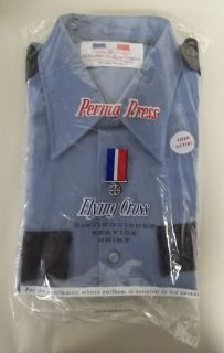 Flying Cross Mens Uniform Police Shirt Blue with Navy Pockets Sz