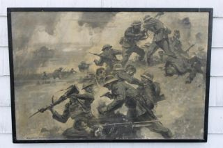 Lrg Antique *Grattan Condon* WWI German, American Trench Fighting Oil
