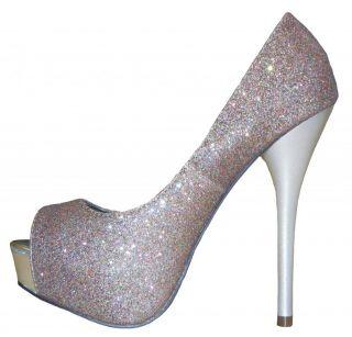 Silver Glitter Open Toe Platform High Heel Pumps Size 7