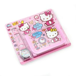 Wholesale 4pcs Hello Kitty gift set Children Cartoon watch and wallet