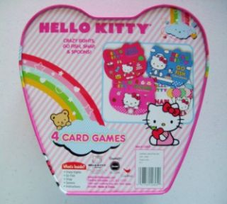 Hello Kitty 4 Card Games in Heart Shaped Metal Tin Travel Gift Free