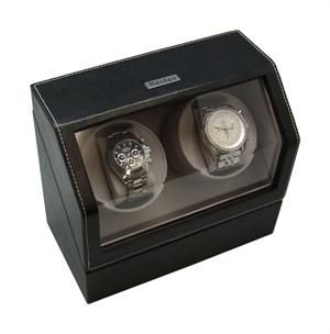 Heiden Battery Powered Dual Double Watch Winder Black Leather Box