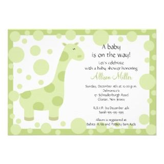 Green Giraffe Baby Shower Invitation