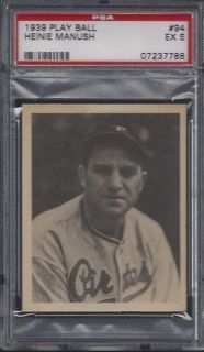 PSA 5   1939 Play Ball # 94 Heinie Manush Pittsburgh Pirates