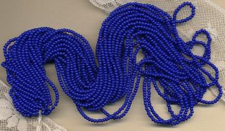 Vintage Czech Greasy Smooth Dark Periwinkle Blue Glass Seed Beads
