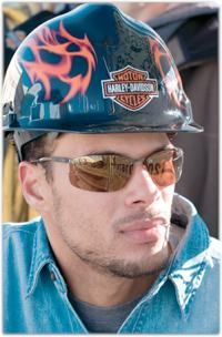 Harley Davidson RHDHHAT10K Flames Hard Hat Standard Safety Works