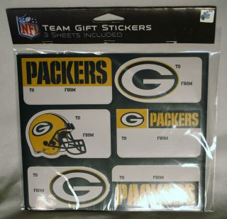 NFL Green Bay Packers Football Team Gift Stickers 3 Sheets NIP Package