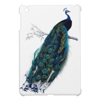 Vintage Blue Elegant Colorful Peacock iPad Mini Cases