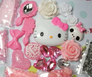 DIY Hello kitty Pink Bling Flatback Resin Cabochons Kawaii Deco Kit