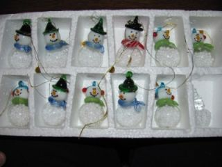 11 Beautiful Art Glass Snowmen Snowman Christmas Tree Ornaments Snow