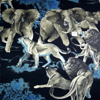 Alexander Henry Cotton Fabric Thrilling Lions Elephants on Black OOP