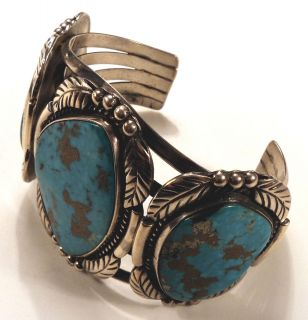 Old Pawn Navajo   Huge Sterling Silver Royston Turquoise Bracelet
