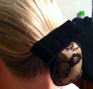 Black Velveteen Hair Bow with Bun Net Snood Horse Show Dressage
