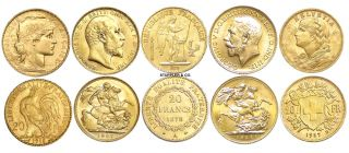 RARE European Gold Coins Swiss Helvetia French Angel Rooster British