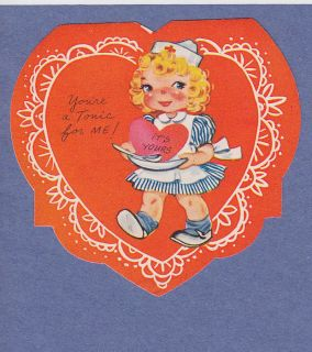 0212 Vintage Valentine Card Medical Nurse Serves Big Heart as Medicine
