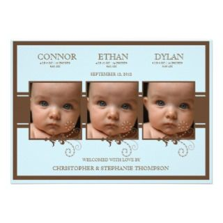 Elegant Triplet Photo Baby Boy Birth Announcement